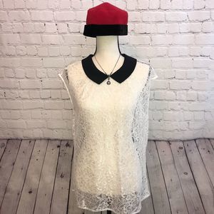 Express Lace Collared Top